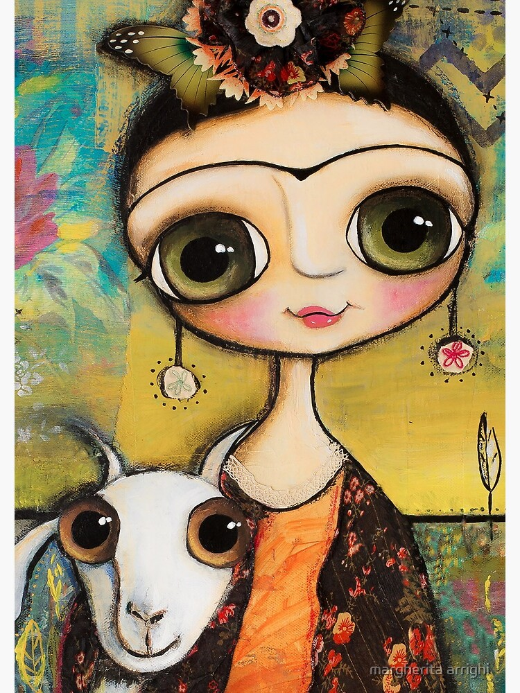 The girl big eyes and the white goat in Tuscany landscape by marrighi