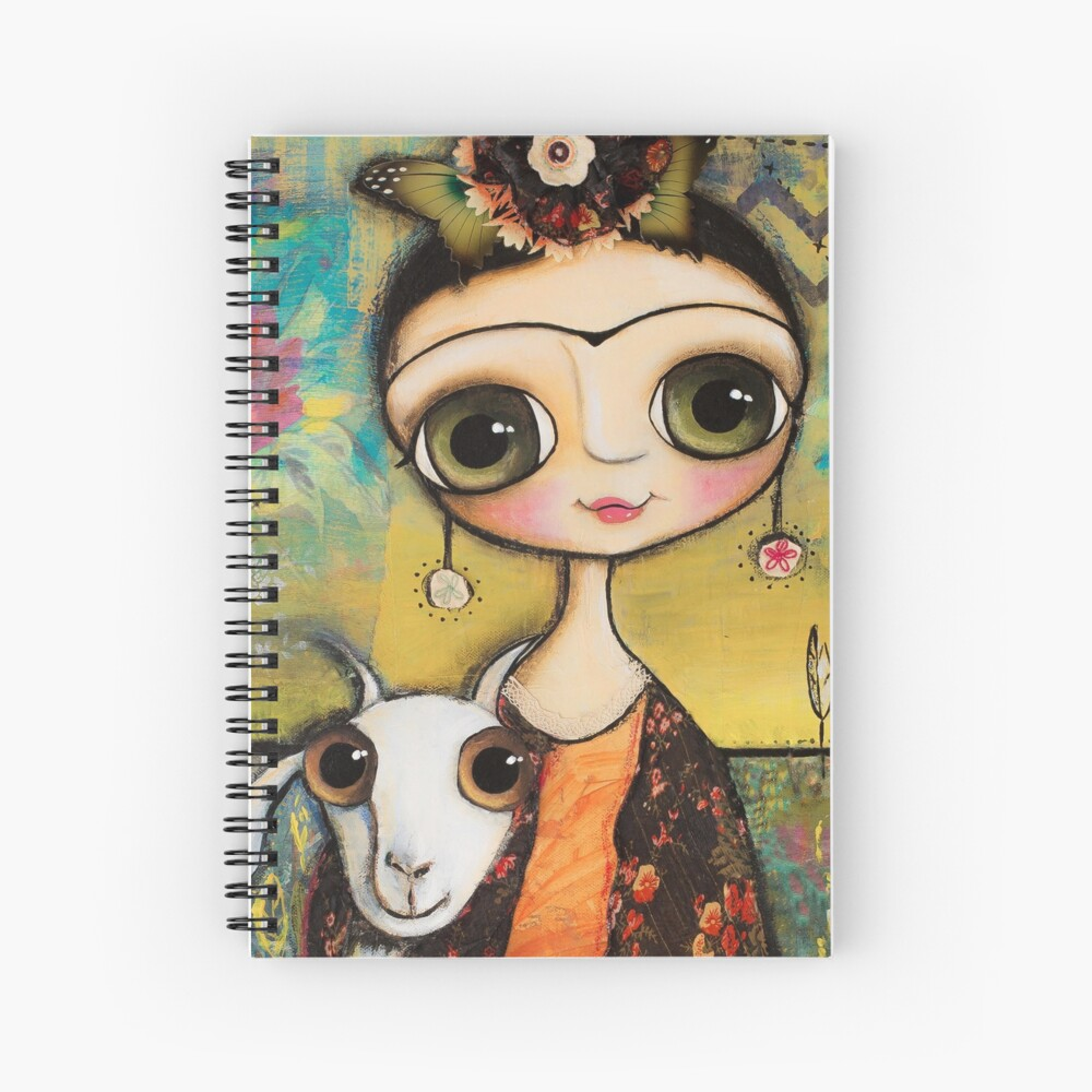 The girl big eyes and the white goat in Tuscany landscape Spiral Notebook