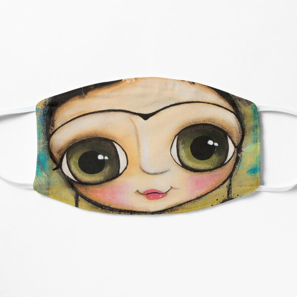 The girl big eyes and the white goat in Tuscany landscape Flat Mask