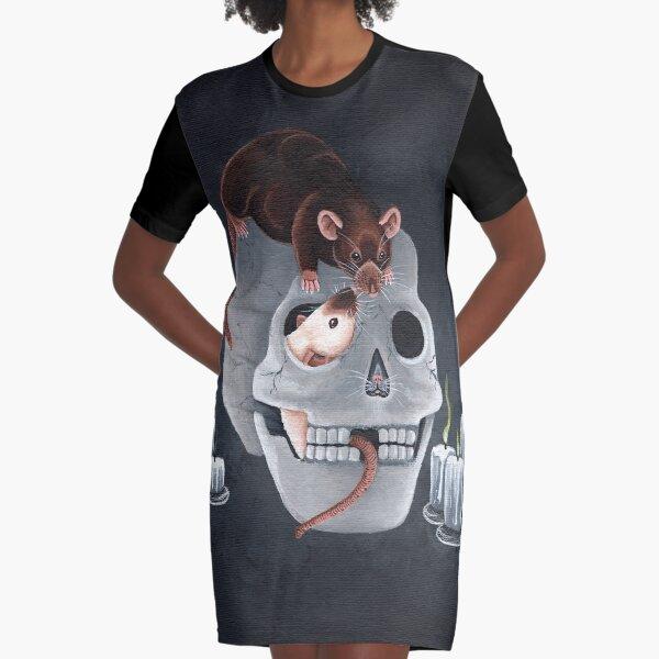 Rats and Human Skull Graphic T-Shirt Dress