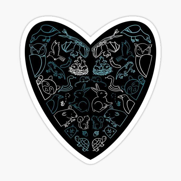 Wildlife Heart Black and Teal Sticker