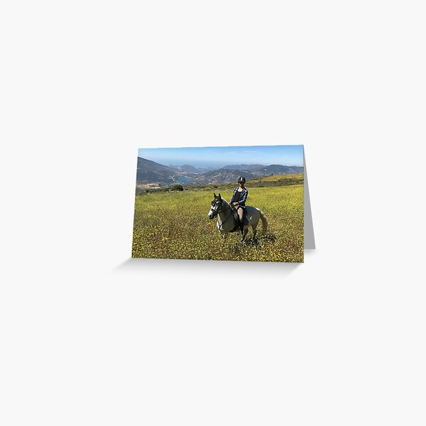 Zara and the yellow flower meadow Greeting Card