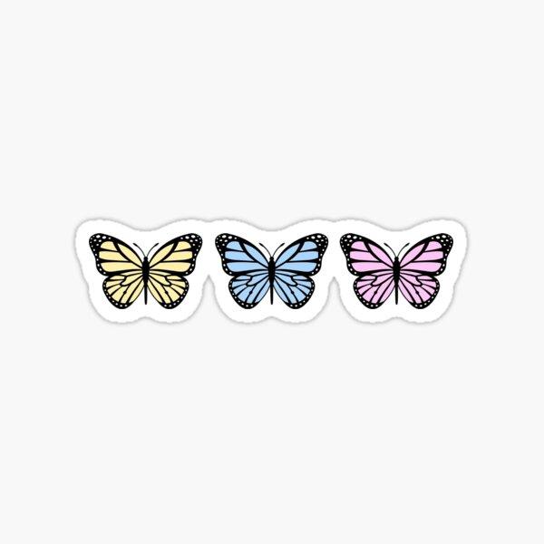 3 Pastel Butterflies Sticker