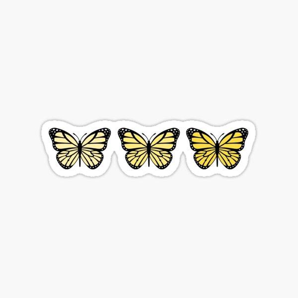 3 Yellow Ombre Butterflies Sticker