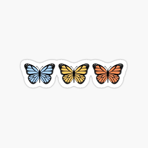 3 Color Ombre Butterflies Sticker