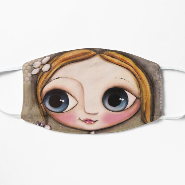 Doll Big Eyes, the bee and the snail in green environment Flat Mask