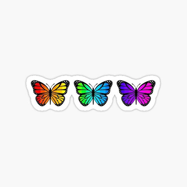 3 Rainbow Ombre Butterflies Sticker