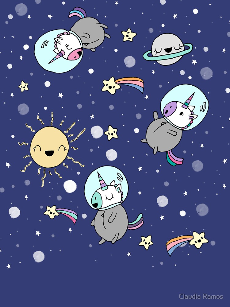 Cute Unicorns in Space by claudiaramos