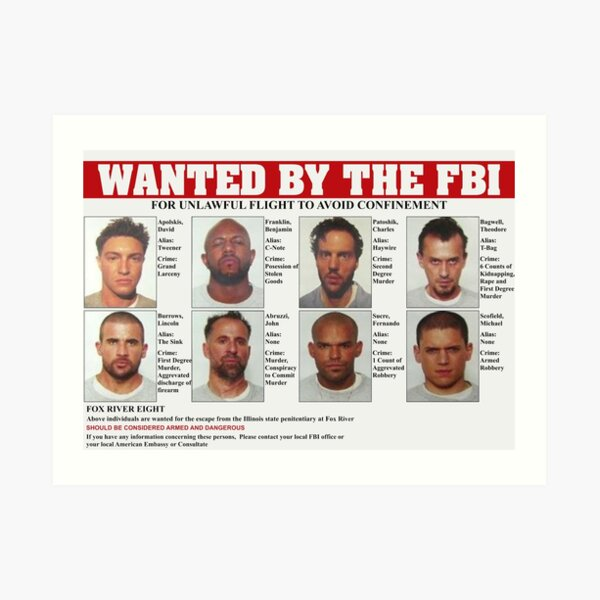 Prison Break FBI quería cartel Lámina artística