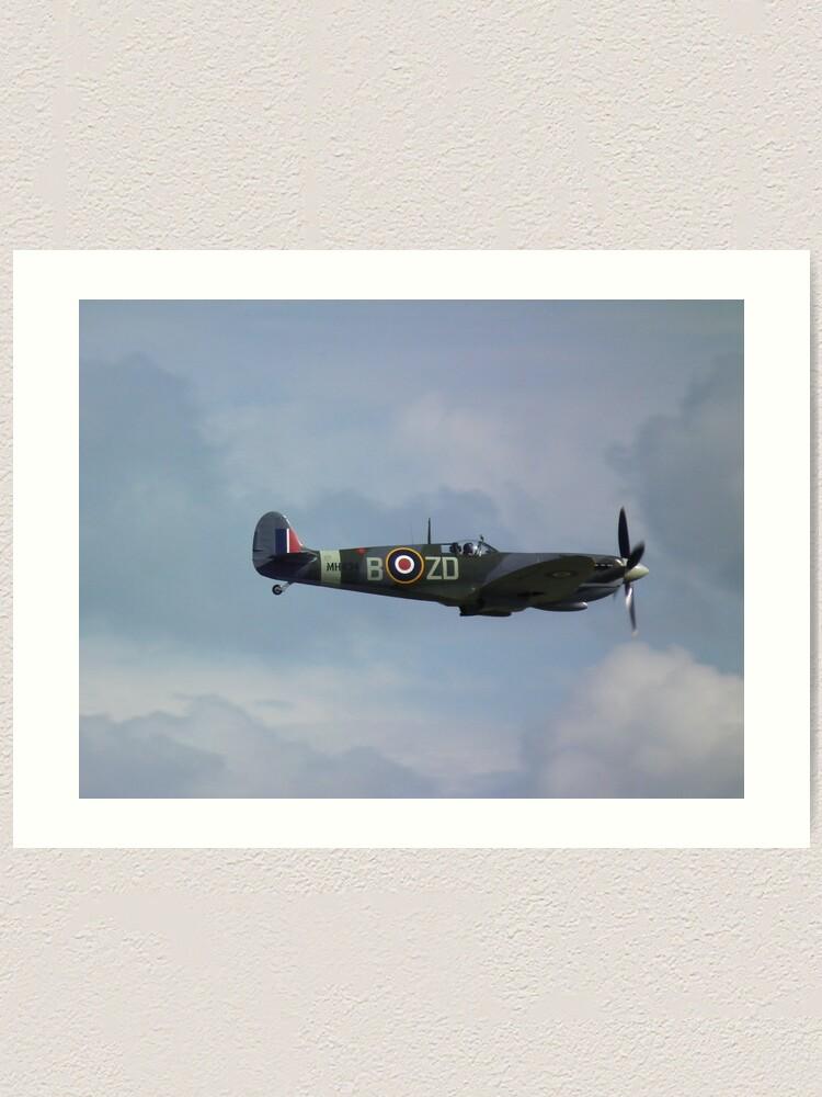 Supermarine Spitfire Mk XIV Vintage Aircraft Art Print 13 x 19