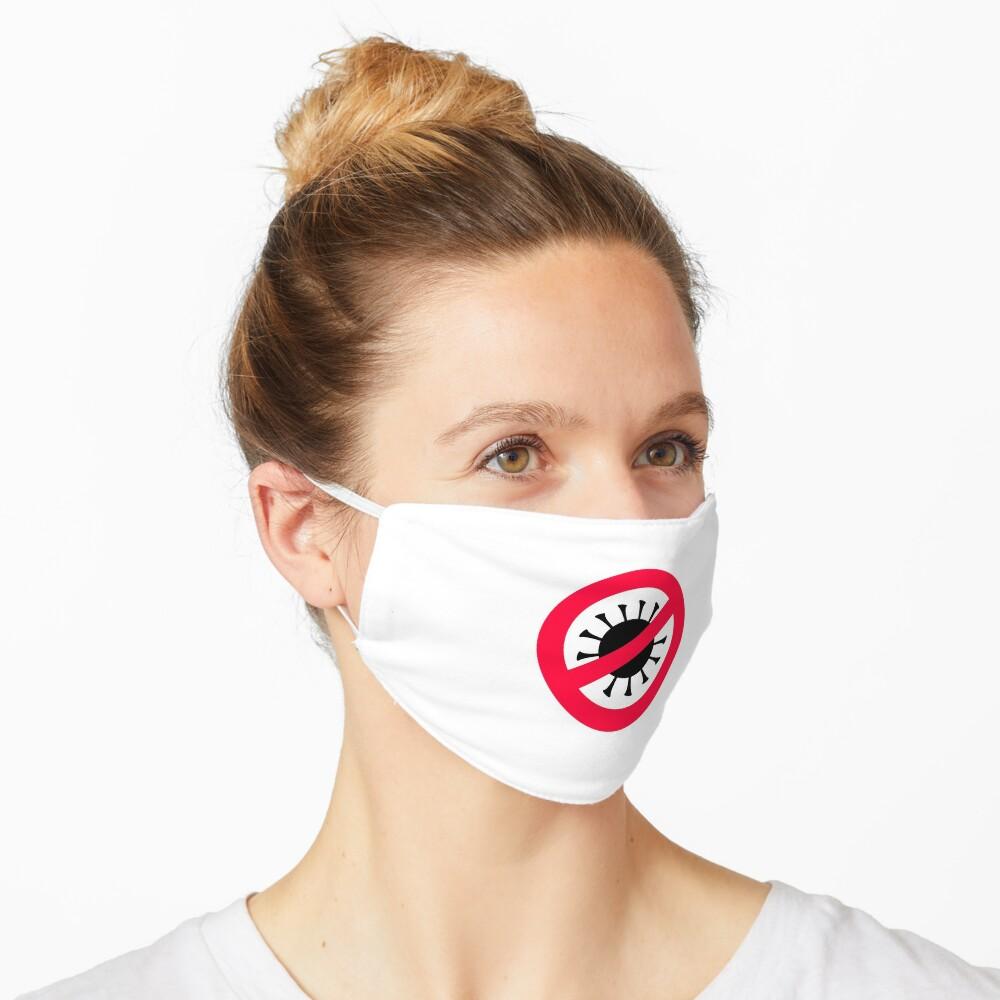 Simple Corona Virus Covid 19 Ban Symbol Red And Black Mask