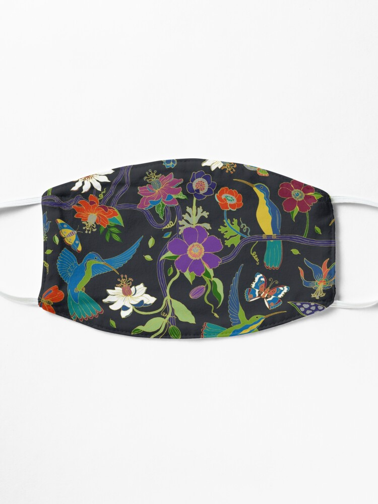 Alternate view of Hummingbirds and Passionflowers - Cloisonne on Black - pretty floral bird pattern by Cecca Designs Mask