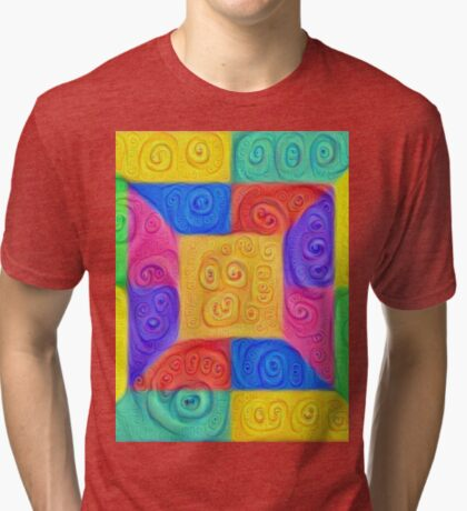 DeepDream Color Squares Visual Areas 5x5K v12 Tri-blend T-Shirt
