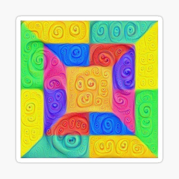 DeepDream Color Squares Visual Areas 2020+ Sticker