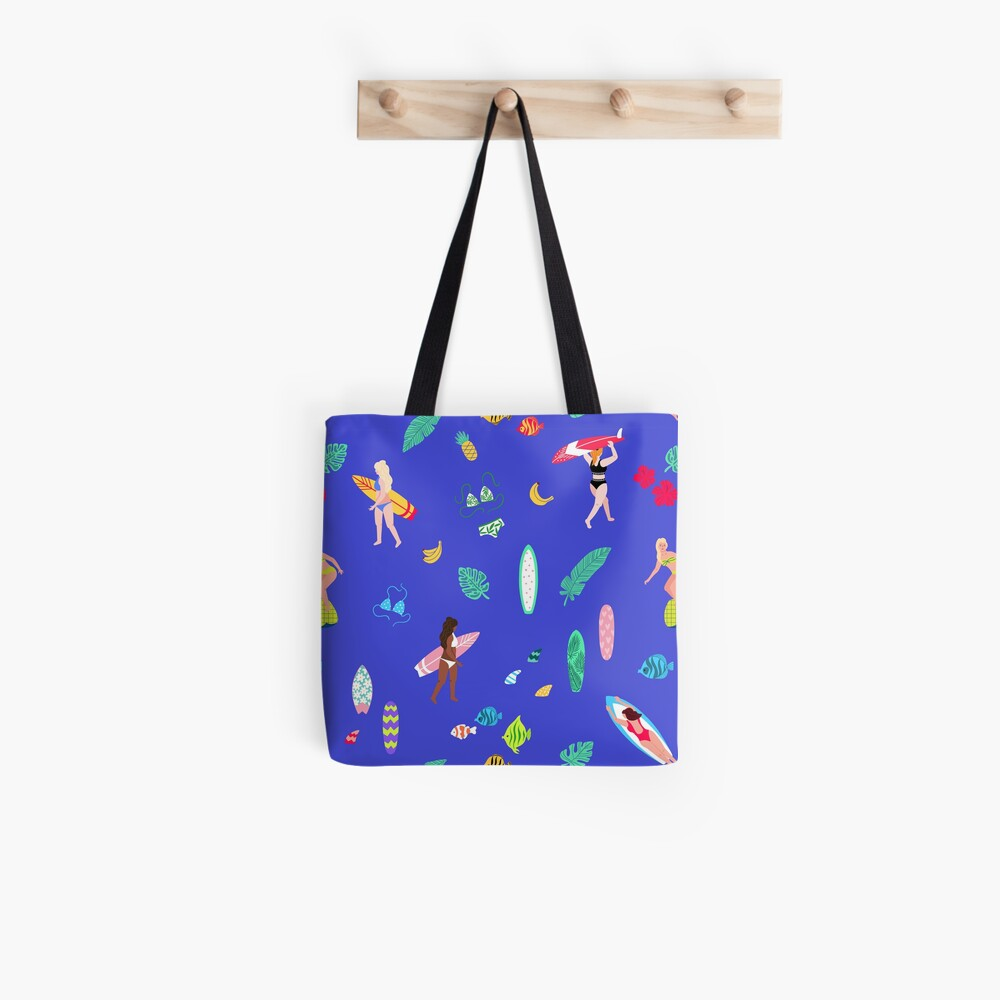 Tropical Surf Girl Pattern Tote Bag