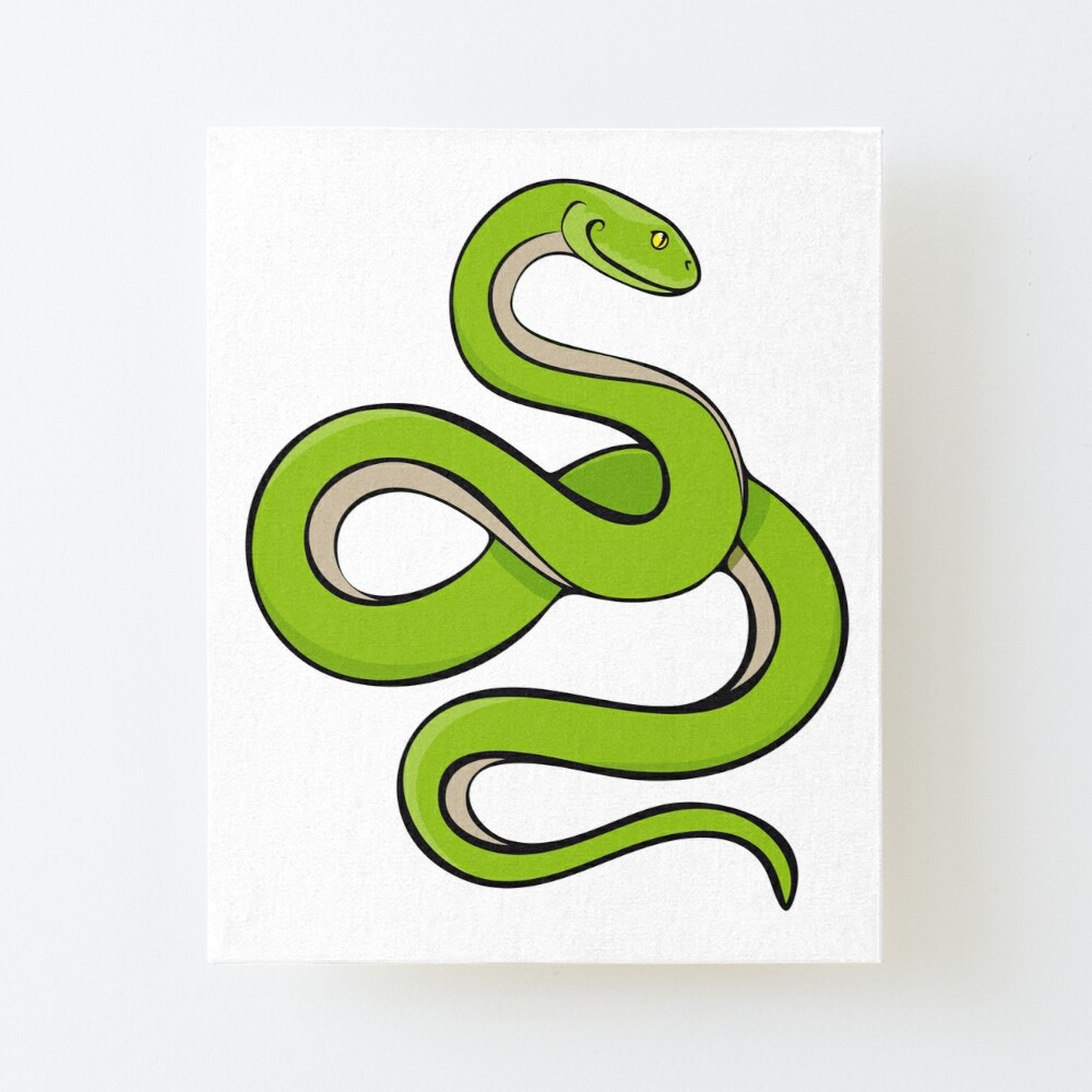 Smiling Green Snake Cartoon Drawing Art Board Print By Funktiger Redbubble