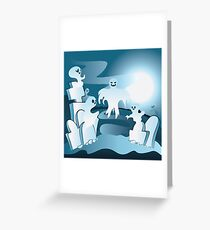 Cartoon Cemetery with Ghosts 2 Greeting Card