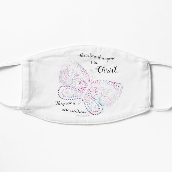 New Creation Doodle Butterfly with Scripture Mask