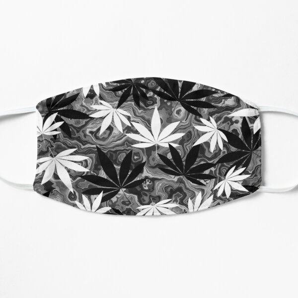 Black And White Weed Flat Mask