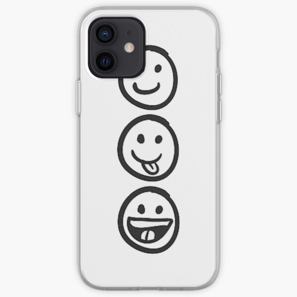 3 Black and White Smiley Faces iPhone Soft Case
