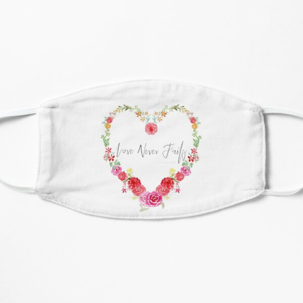 Love Never Fails Scripture in Watercolor Floral Heart Mask