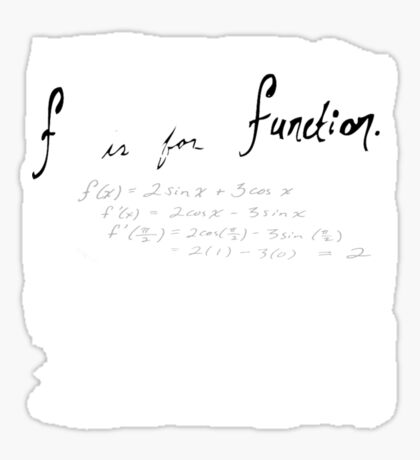 (f) is for function Sticker