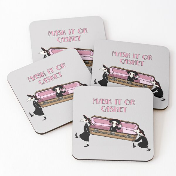 Plague Doctor says Mask it or Casket.  Coasters (Set of 4)