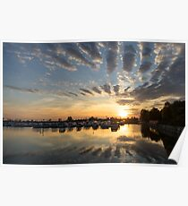 Cloud Alignment - Perfectly Positioned Clouds Emphasize the Sunset Poster