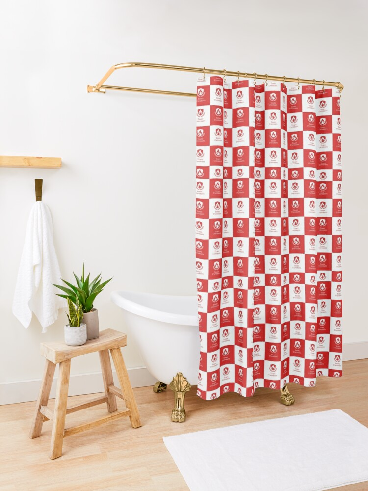 Alternate view of Tempt University Patterned Background Shower Curtain