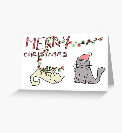 Christmas Cat Mischief Greeting Card