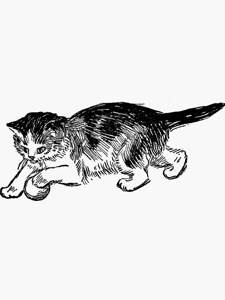 Vintage Kitten Playing With a Ball Sketch  by RootSquare