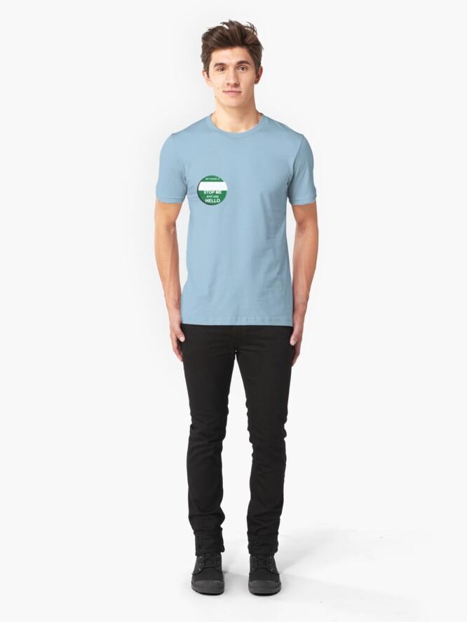 "Alternate view of The Inbetweeners - ""Nice Badge"" make your own Slim Fit T-Shirt"