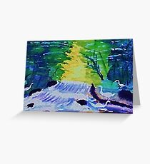 Waterfall and Fowl, watercolor Greeting Card