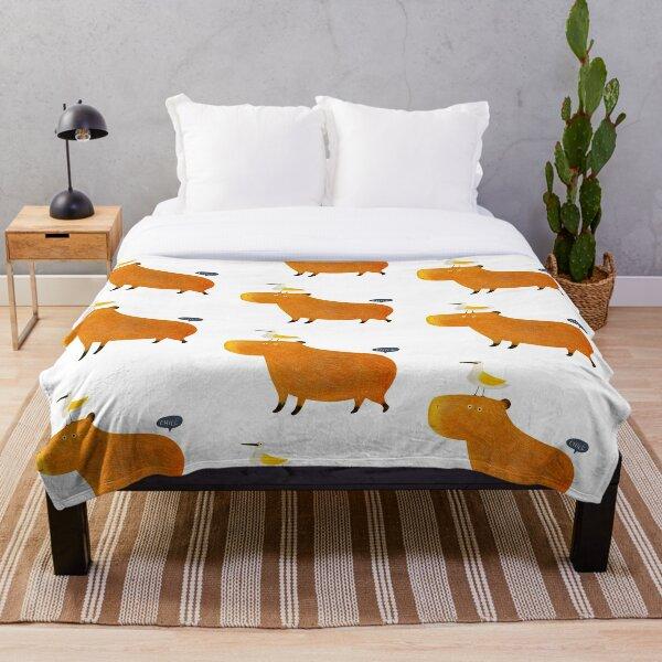 Hapybara Capybara Throw Blanket