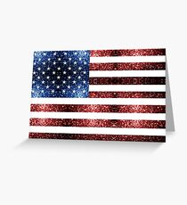 USA flag red & blue sparkles Greeting Card