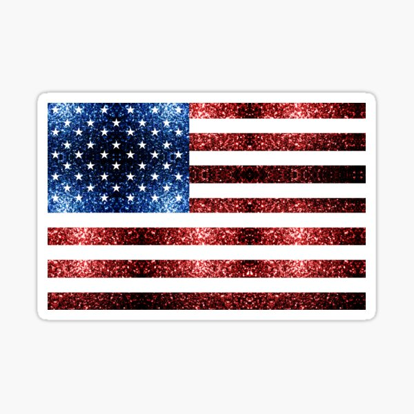 USA flag red blue faux sparkles glitters Sticker