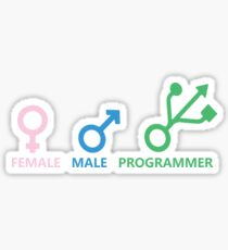Female, Male, Programmer Sticker