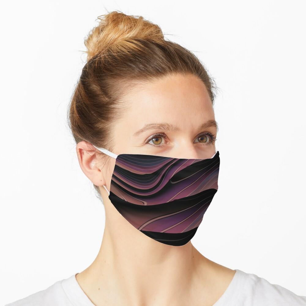 Wine Purple and Black Swirl Wave Pattern Mask