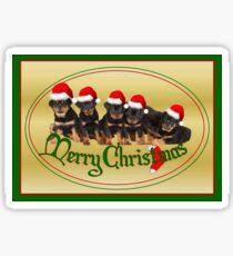 Cute Merry Christmas Rottweiler Puppies Sticker