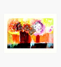 Still life with Flowers in two vases Art Print