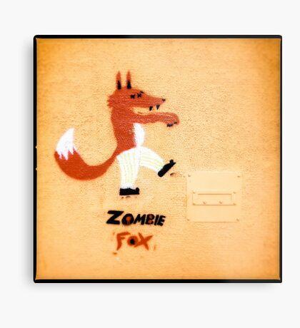Zombie Fox Stencil Graffiti. Metal Print