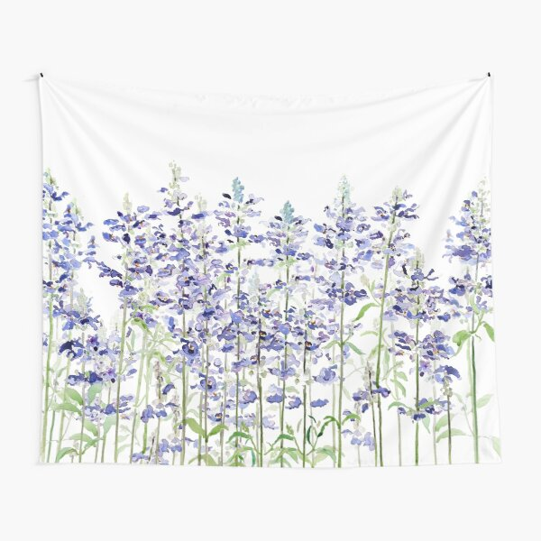 blue mealycup sage flowers watercolor   Tapestry