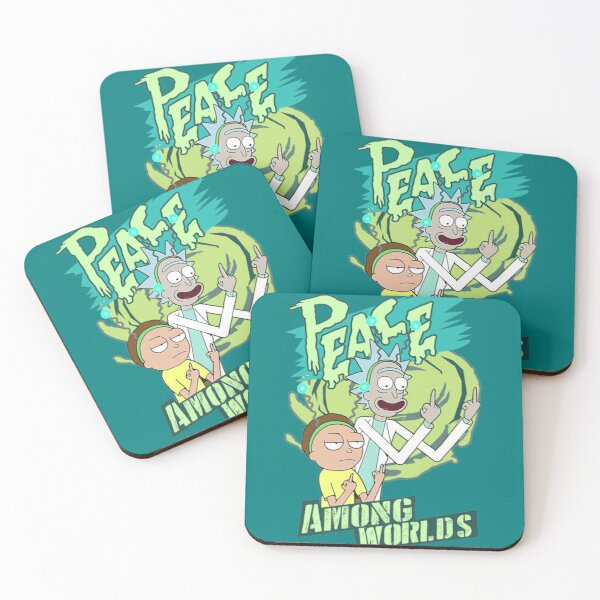 Peace between worlds | Rick and Morty | Peace among worlds Coasters (Set of 4)