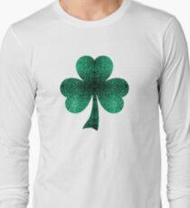 Emerald green shamrock clover sparkles Long Sleeve T-Shirt