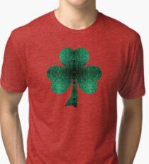 Emerald green shamrock clover sparkles Tri-blend T-Shirt