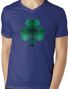 Emerald green shamrock clover sparkles Mens V-Neck T-Shirt