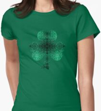 Emerald green shamrock clover sparkles Womens Fitted T-Shirt