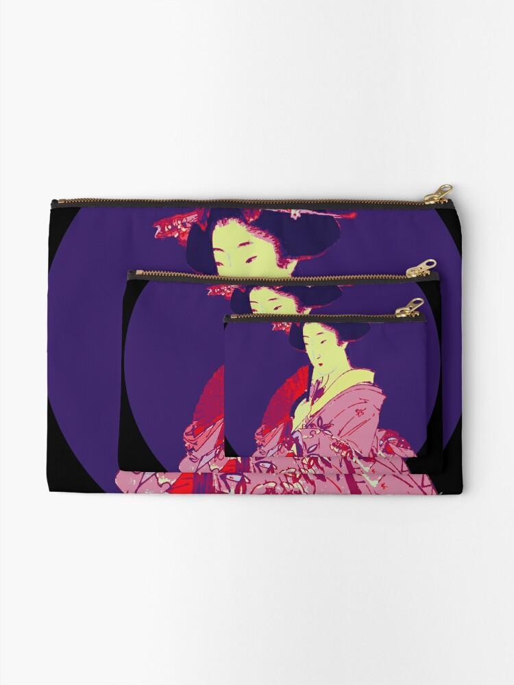 Alternate view of japan geisha japanese lady art Zipper Pouch