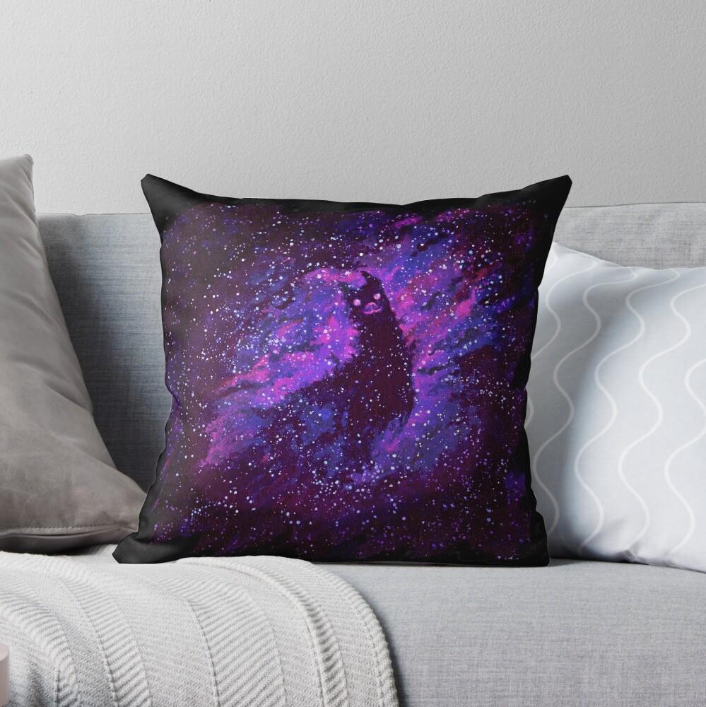 Cosmic Purple Space Llama Throw Pillow