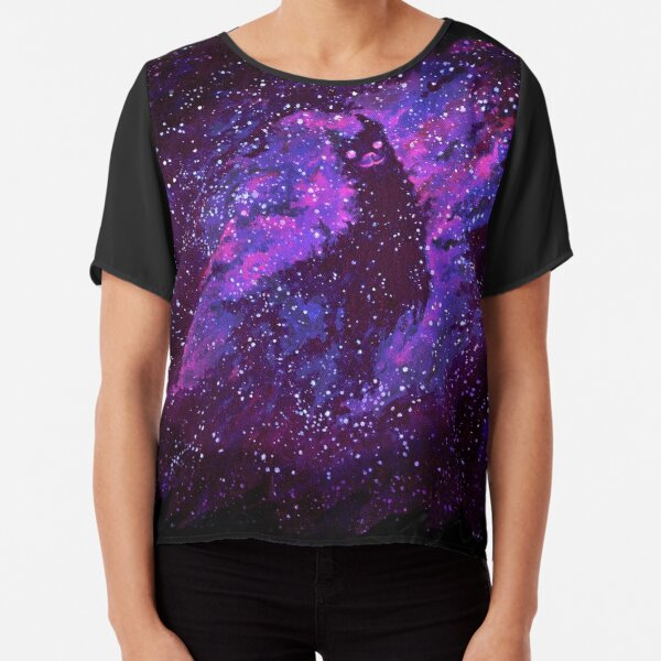 Cosmic Purple Space Llama Chiffon Top